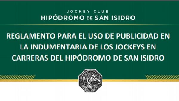 Reglamento para el uso de publicidad en indumentaria de los jockeys en el HSI
